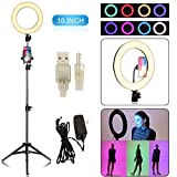 10' Selfie Ring Light with Tripod Stand Black Mini LED Camera Light Makeup Flash Light with Cell Phone Holder Desktop LED Lamp for Live Stream/Makeup/Video/Photography (Black, 10 inch)