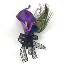 Lily Garden Royal Purple Calla Lily with Peacock Feather Boutonniere Corsage (1)