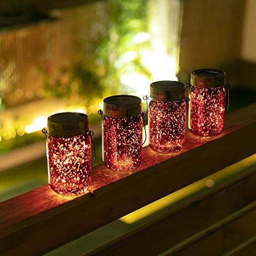 SUNWIND Solar Hanging Lights Outdoor Decorative- Solar Jar Table 10 LED Light Mason Lid Warm White Lighting for Garden Patio Backyard Gazebo 4 Pack (red)