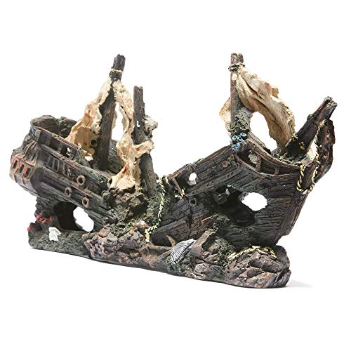 R&J Enterprises Sunken Treasure Ship Aquarium Decoration, Large, -
