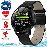 MyTECH Smart Watch Sport Activity Fitness Tracker with Heart Rate Blood Pressure Sleep Monitor Pedometer Waterproof Wrist Watch Wristband Birthday Gifts for Men Women (Black Leather)