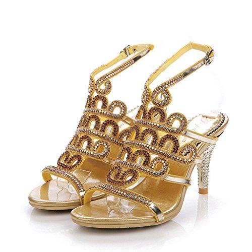 Heels Sandalen Hochzeit Mode Abend Strass Sommer Glitter Hausschuhe Kleid Doris Gold Damen Schuhe 18vq0