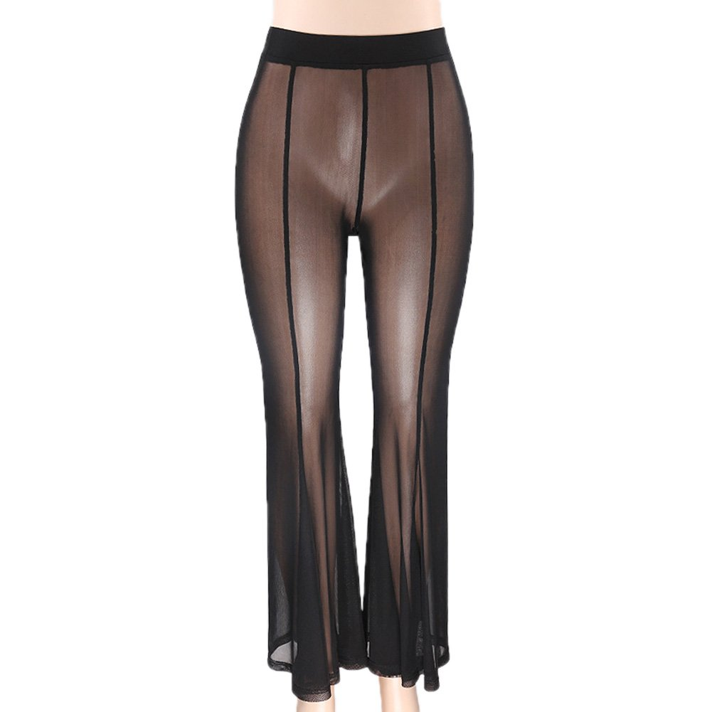 Yiwa Women Sexy Slim See-Through Net Yarn High Waist Trousers Long Pants Black M