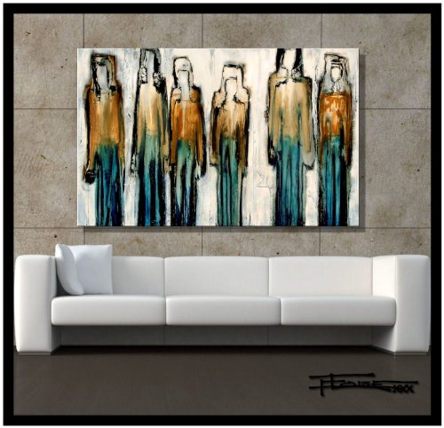 Modern Abstract Canvas Wall Art. Limited Edition, Hand Embellished Giclee on Canvas, 48 x 30 x 1.5