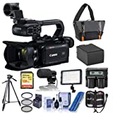 Canon XA40 4K UHD Pro Camcorder with 20x Optical Zoom Lens - Bundle with Video Bag, 128GB SDXC U3 Card, Spare Battery, Video Tripod, Video Light, Shotgun Mic, 58mm Filter Kit, and More