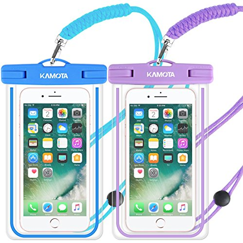 Waterproof Case, 2 PACK Glow in the Dark IPX8 Universal Waterproof Phone Pouch Cases Dry Bag with Military Lanyard for iPhone Samsung Google Pixel HTC LG Huawei (blue purple)