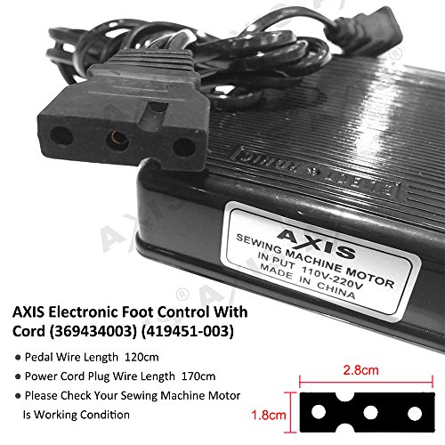 AXIS Electronic Foot Control With Cord (369434003) (419451-003) Serger Sewing Machine Singer Foot Pedal Variable Speed Controller for Juki Babylock Bernette Consew Elna Euro-Pro Replacement