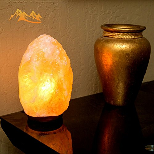 Salt Lamp by HSS Himalayan Salt Lamp Himalayan Pink Salt Lamp Salt Lamp Cord With Dimmer Switch 6 - 7 lbs, 7 - 8 Inches, Shinny Wooden Base, 1 Bulb, 6 Feet Long UL Approved Cord