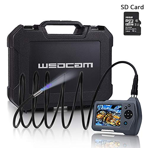 Wsdcam Borescope Camera Drain/Pipe/Plumbing/Wall/Automotive Inspection Camera with Light Flexible Waterproof 0.3inch Snake Camera 9.84ft, 2X Zoom, Digital Photo/Video Recording/Including SD Card