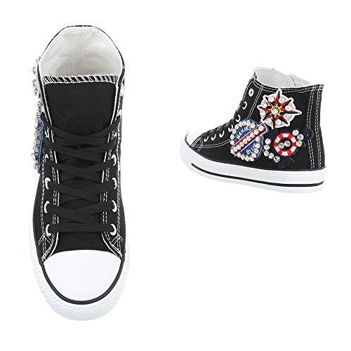 Mujer Para Zapatillas Negro Altas Zapatillas AB 119 Plano Zapatos Design Ital wqCgtg