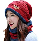 Alexvyan 2 Pcs - Cap and Scarf - Imported Soft Warm Snow and Air Proof Fleece Knitted Cap (Inside Fur) Woolen Beanie Winter Cap with Scarf for Women Girl Ladies