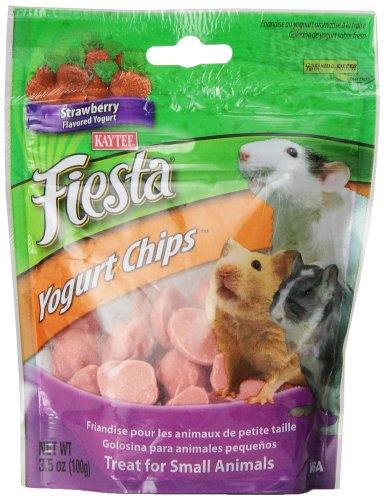 Kaytee Fiesta Strawberry Flavor Yogurt Chips for Small Animals, 3.5-oz bag - Strawberry Yogurt Chips