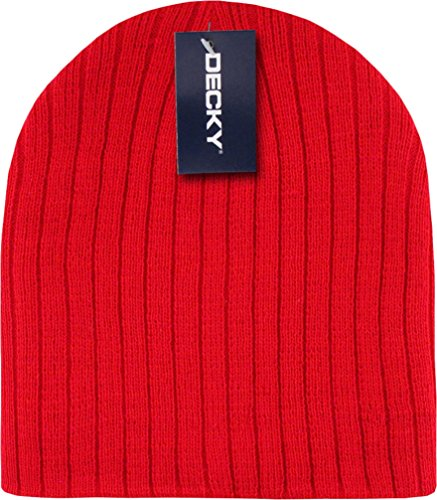 Red Cable Beanie Stocking Cap Winter Stocking Hat Biker Skully - Cable Knitted Beanie Cuffless