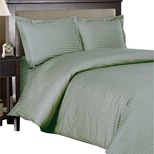 - Royal Hotel's Striped Sage 300-Thread-Count 3pc Full / Queen Duvet-Cover 100-Percent Cotton, Sateen Striped, 100% Cotton