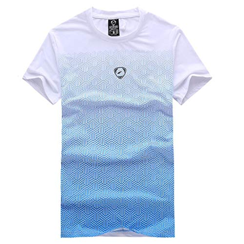 - Big Sale ! BBesty Men's Sport Gradient Pattern Print Quick Drying Clothes Short Sleeve Shirt Top Tee Blouse White