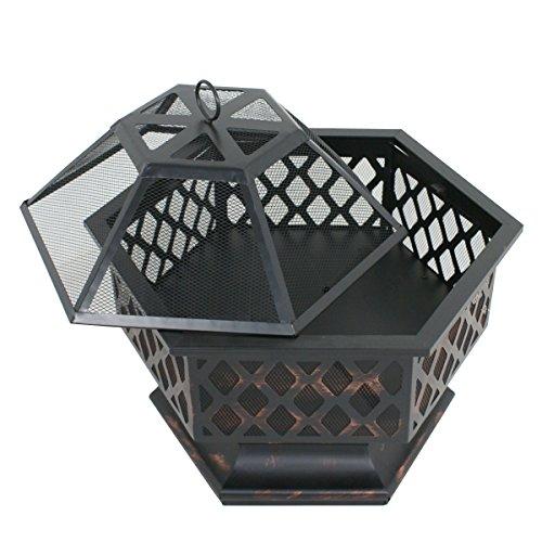 Zeny-Fire-Pit-Hex-Shaped-Fireplace-Outdoor-Home-Garden-Backyard-FirepitOil-Rubbed-Bronze-Bronze