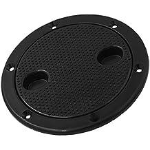 "Dovewill Marine Black Plastic Deck Plate 6"" Waterproof Inspection Screw Type for Boat"