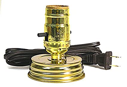 Creative Hobbies Mason Jar Lamp Making Kit Is Pre Wired And Easy To Use Gold Color Lid Socket
