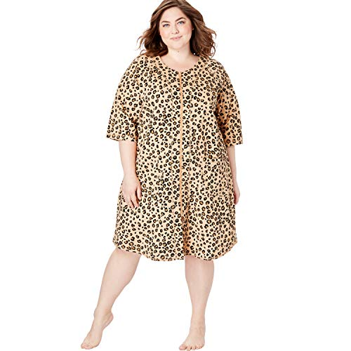 (Dreams & Co. Women's Plus Size Short Sleeve French Terry Robe - Classic Leopard Print, M)