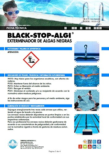 YMBERSA BLACK-STOP-ALGI® Súper Antialgas. Exterminador superconcentrado de algas rebeldes. Para brotes enquistados 5 Lt.: Amazon.es: Jardín
