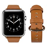 For Apple Watch Band, top4cus Genuine Leather iwatch Strap Replacement Band with Stainless Metal Clasp for Apple Watch Series 3 Series 2 Series 1 Sport and Edition (Oval Brown, 42mm)