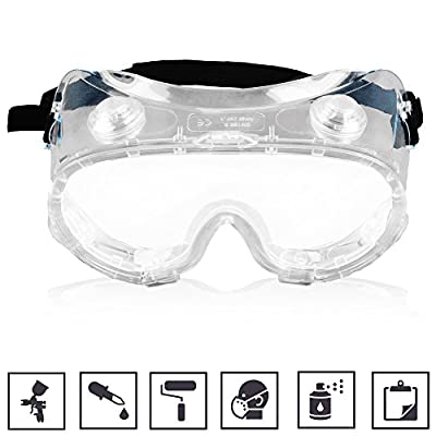 Painting Goggles Lab Safety Painting Glasses with Transparent Clear Anti Paint Spray Dust Fog Scratch Coating Ventilation Indoor Outdoor for Portable Half Gas Mask Respirator Coveralls