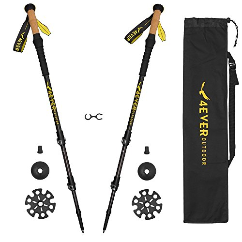 4EVER outdoor Trekking Poles - Best Collapsible Ultralight 3K Carbon Hiking Poles Walking Stick with Quick Lock, Cork, Tips, Bag and Accessories - Adjustable Lightweight Hiking Sticks 1 Pair 2 Pack - Trek Carbon Fiber