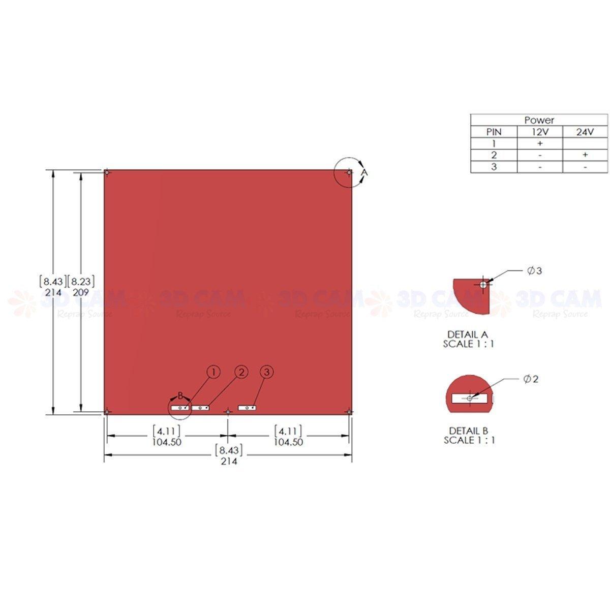 Amazon.com: RepRap Champion MK2B PCB Heated Bed Heat Bed RepRap for 3D  Printer 12V / 24V + Wiring + Thermistor: Industrial & Scientific