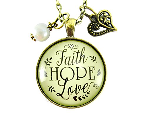 """24"""" Faith Hope Love Necklace Shabby Vintage Style Christian Inspired Jewelry Bronze 1.20"""" Glass Round Pendant Love Gift Heart Charm"""