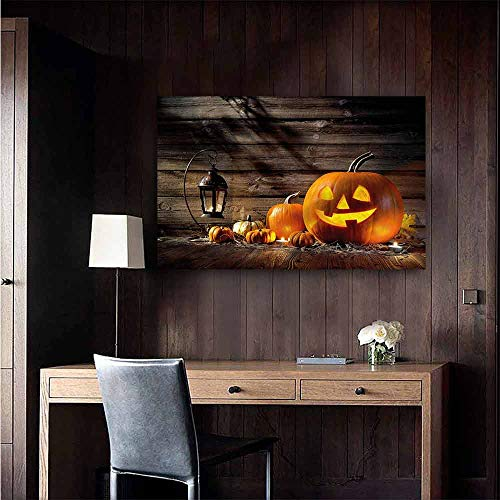 Gabriesl Wall Mural Wallpaper Stickers Halloween Grinning Face of Pumpkin for Kids Rooms Boy Room Size : W28 x -