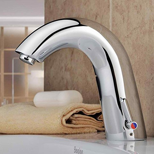Si Auto Repair (Lightinthebox Contemporary Deck Mount Bathroom Sink Faucet Solid Brass Finish with Automatic Sensor Hot and Cold Bathtub Mixer Taps Bath Shower Faucets Lavatory Plumbing Fixtures Auto Sensor Faucet One Hole)