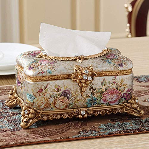 ZHAS Rectangle Decorative Tissue Dispenser - Elegant Pearl Facial Tissue Box Cover with 3D Floral Design - Living Room Decoration Gift (Color : C)