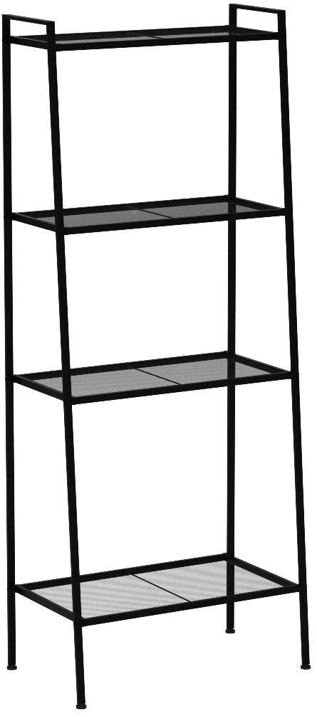HOMFA Metal 4 Shelf Bookcase, Multifunctional Ladder-Shaped Plant Flower Stand Rack Bookrack Storage Shelves, Black by Homfa
