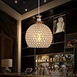 LOFAMI Modern Country E27 LED Luxury Crystal Knit Shade Lollipop Living Room Study Iron Ceiling Light (Size : 2025cm)