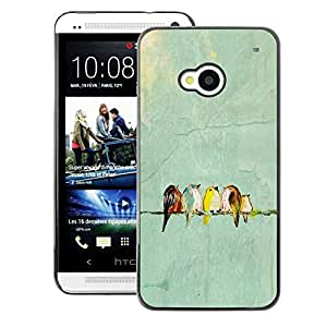 A-type Arte & diseño plástico duro Fundas Cover Cubre Hard Case Cover para HTC One M7 (Teal Birds Blue Skies Drawing Cute)