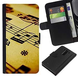 KingStore / Leather Etui en cuir / LG G3 / La notación musical