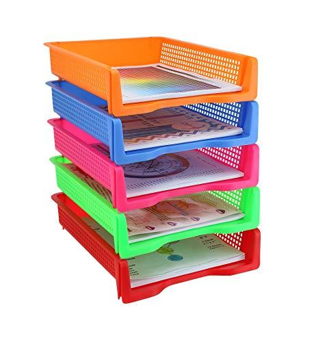 5 Tier - Plastic Desk Letter Organizer Tray, Stackable Office Desktop Document Paper Storage, Front Load File Holder, Portrait, Assorted Colors