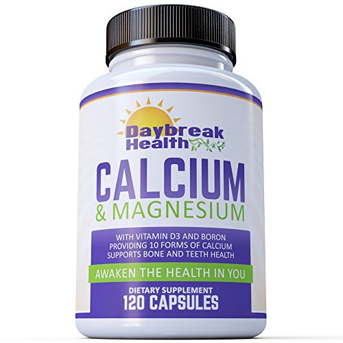 Daybreak Health Calcium & Magnesium + Vitamin D3 400IU + Boron for Absorption + 10 Forms of Calcium (1000 mg) Magnesium (500 mg) 120 Capsules