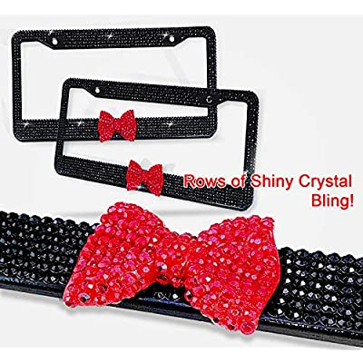 Zento Deals Shiny Bling Women License Plate Frame- Crystal BlackRhinestones with Red Ribbon Bow- 2-Pack Premium Quality License Plate Cover with Mounting Screws: Automotive