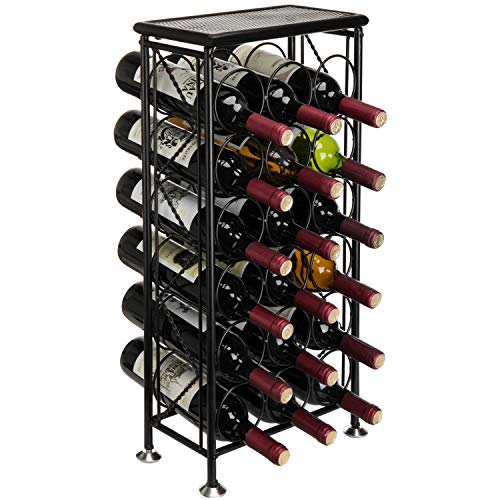 Black Metal 18 Bottle Holder Free Standing Wine Organizer Rack Storage Tower