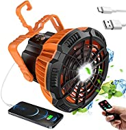 Portable Camping Fan with LED Light, 7 Inches, 5200MAh, 3 Gears with Remote Timing Function, Rechargeable Port