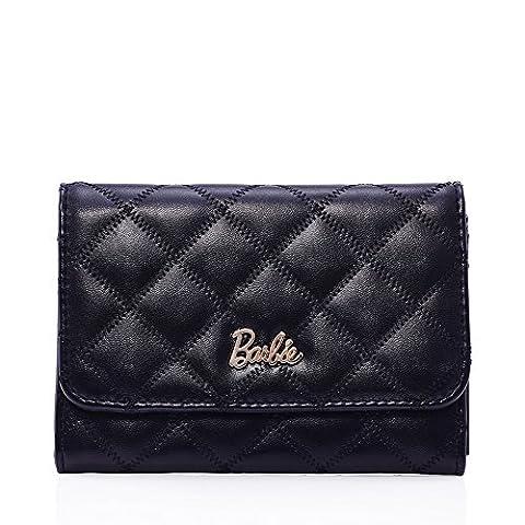 Barbie Commutert Series Simple Fashion Lattice surface Women Purse #BBPS023 (standard, black)