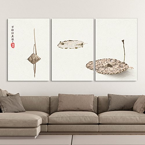 3 Panel Minimalism Style Chinese Painting of the Dried Lotus Leaves Gallery x 3 Panels