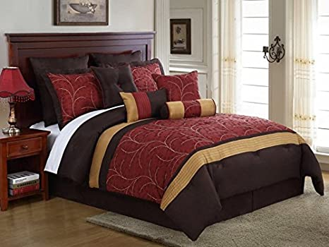 Amazon.com: KingLinen 10 Piece Queen Lambert Burgundy and ...