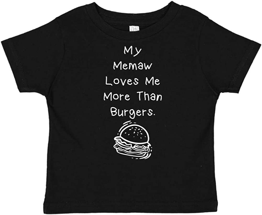 Toddler//Kids Short Sleeve T-Shirt My Memaw Loves Me More Than Burgers