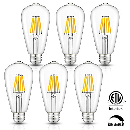 - CRLight 6W Dimmable Edison Style Vintage LED Filament Light Bulb, 3000K Soft White 60W Incandescent Replacement, E26 Medium Base Lamp ST64 Antique Shape, Clear Glass Cover, 6 Pack