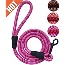 PetsCare Cat Leash Rope Dog Leash - 2/5 Inch Thick 5 Feet Long - Quality Thick Nylon - Lighter - Soft Handle and Light Weight Pet Training Lead for Cats and Small Medium Large Dogs (2/5 X 5', Pink)