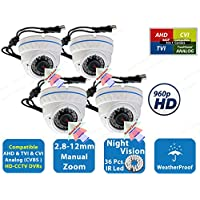Evertech 4X Evertech CCTV Security Cameras - 700 TVL each camera, 36 IR, 2,8~12mm Wide Angle ZOOM Vari-focal Lens Metal Dome Camera for Indoor & Outdoor 36 Ir LED Color Home Security Surveillance Dome Camera