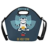 Happy More Custom Keep Calm Be Holy Cow Lunch Box Kids Teens Adult Lunch Bag