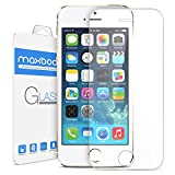 Image of Maxboost iPhone 5S Screen Protector tempered Glass Thinnest Ballistics Glass, 99% Touch-Screen Accurate, Round Edge Ultra-Clear Casings Perfect Fit for Apple iPhone 5/5S/5C